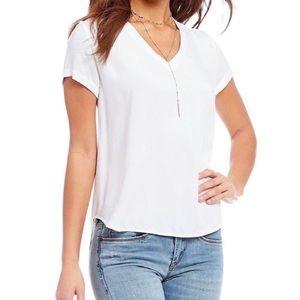 Cloth & Stone White Rayon V-Neck Tee Short Sleeve